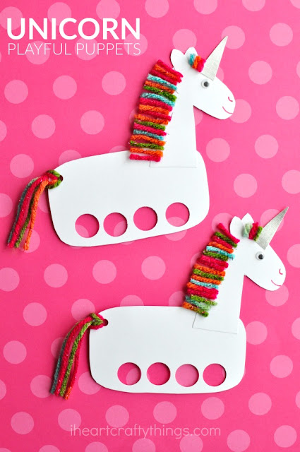 Easy unicorn craft idea for preschoolers - cardboard finger puppet
