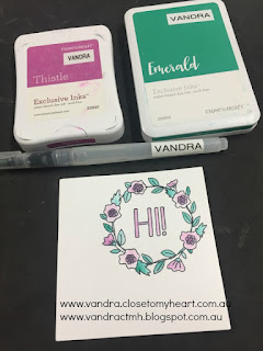 watercolour paint with ink, painting with ink, cardmaking, Vandra Virtual CTMH Craftroom