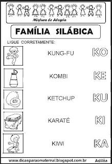 Famílias silábicas alfabetização letra K