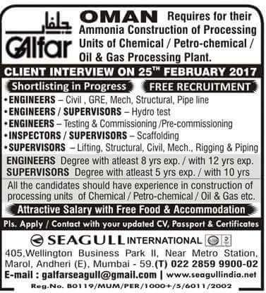 Galfar Oman Jobs at Seagull International