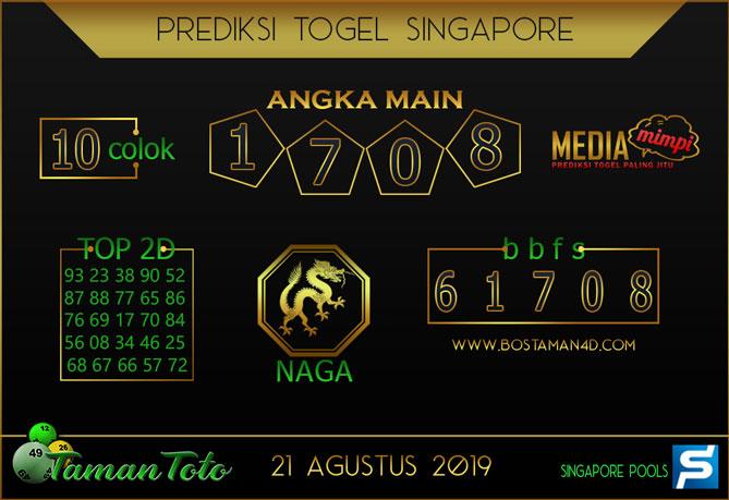 Prediksi Togel SINGAPORE TAMAN TOTO 21 AGUSTUS 2019