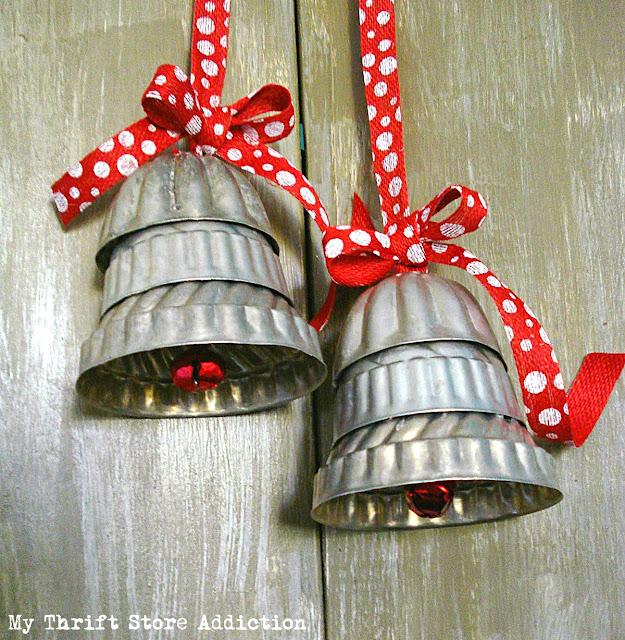 repurposed jello mold Christmas bells