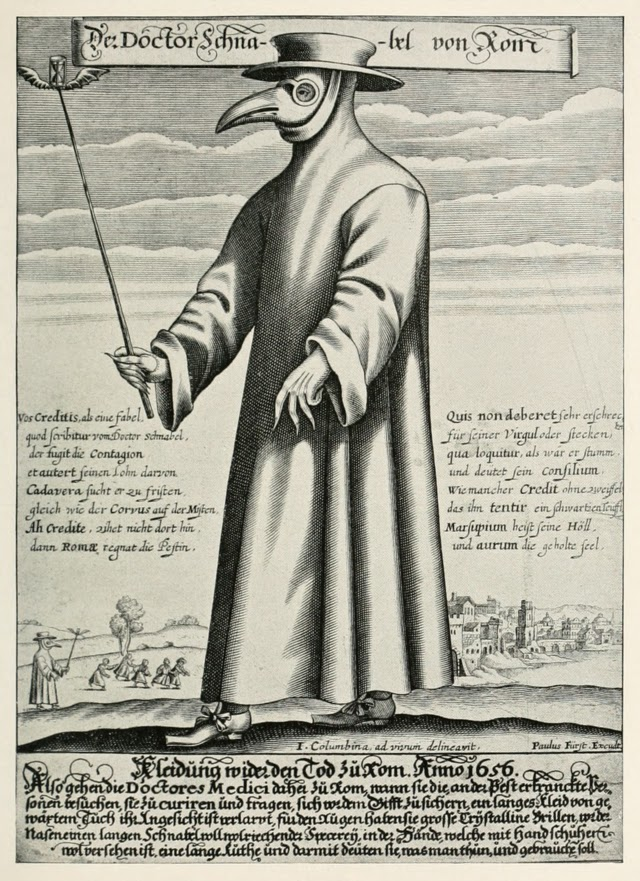 Paul Fürst engraving of a plague doctor of Marseilles 1721