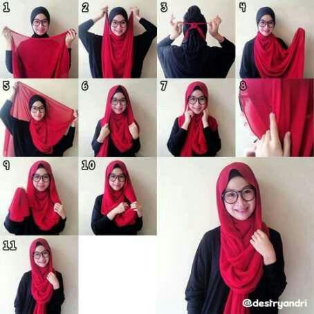 Gambar Cara Memakai Jilbab Segiempat