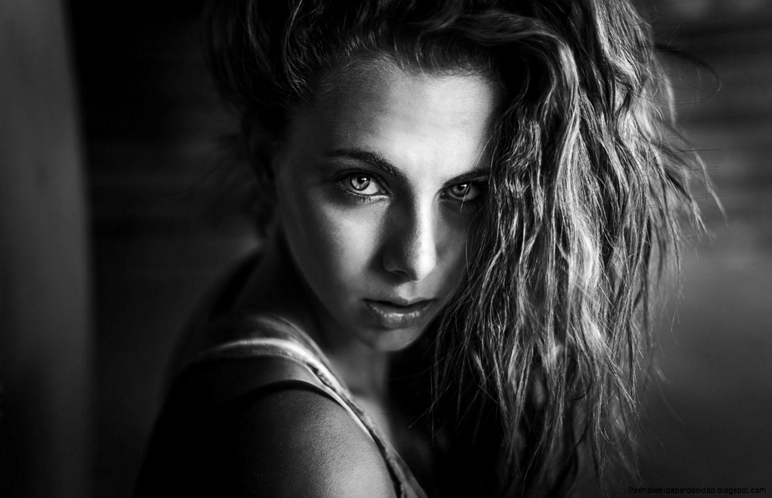 Beautiful girl portrait black white hd wallpaper free high