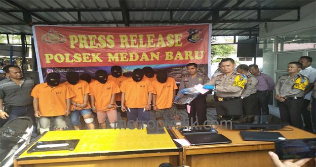 Polsek Medan Baru Ungkap Kasus  Curat dan Curanmor,5 Pelaku di Lumpuhkan