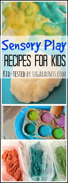 Sensory Play with kid-tested recipes for sand, puffy paint, soda dough and more.