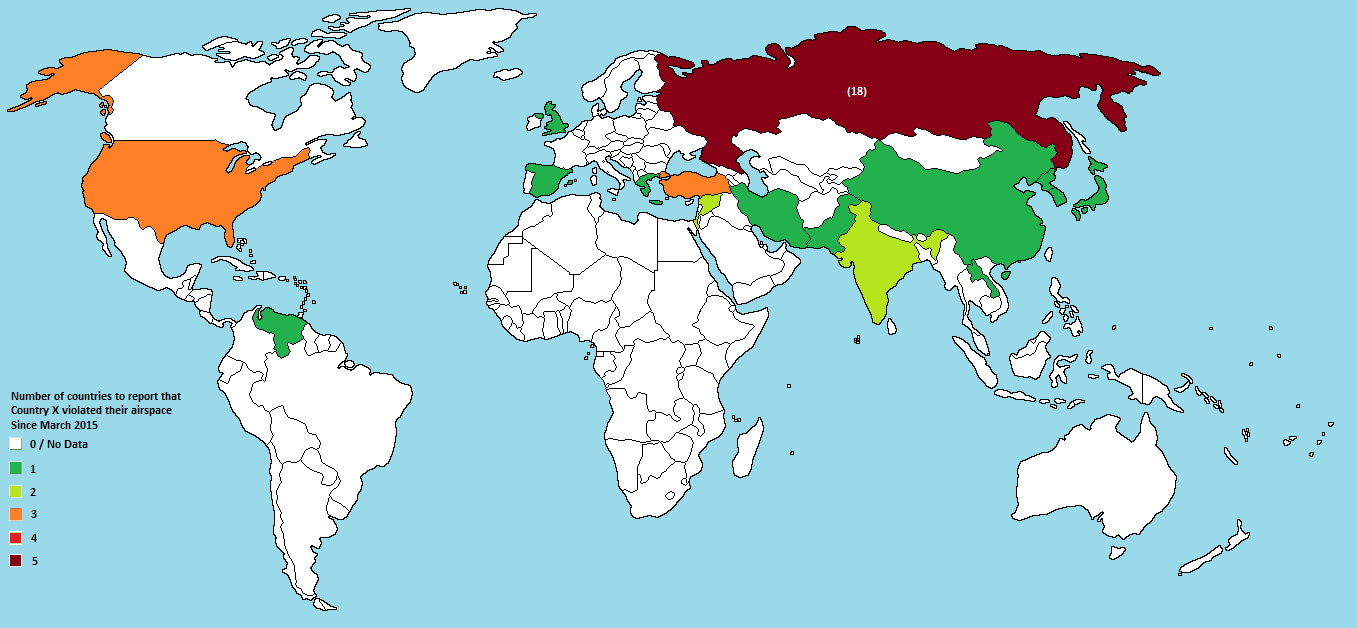 Number of countries to reports country X for violating its airspace in the last 8 months