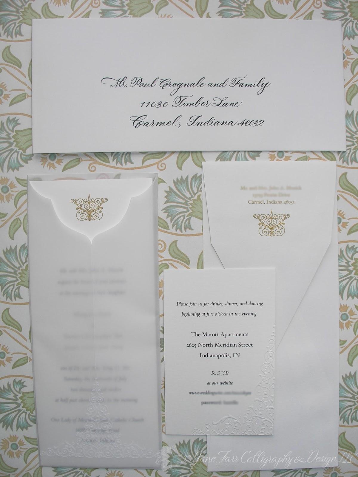 Wedding Calligraphy By Jane Farr Vera Embossed