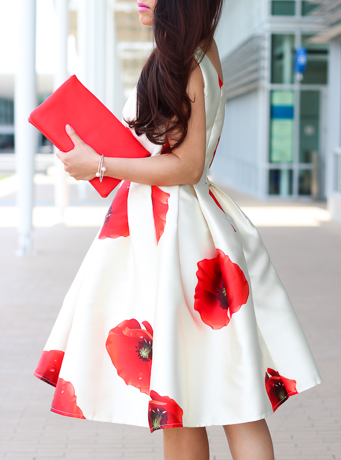 Chicwish poppy print dress Dreaming of hana prom dress Ann Taylor red leather clutch Ily Couture pearl bracelet