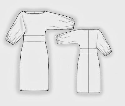 abito su misura,abito con maniche,modello abito tubino