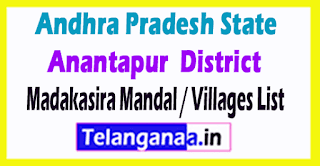 Madakasira Mandal Villages Codes Anantapur District Andhra Pradesh State India