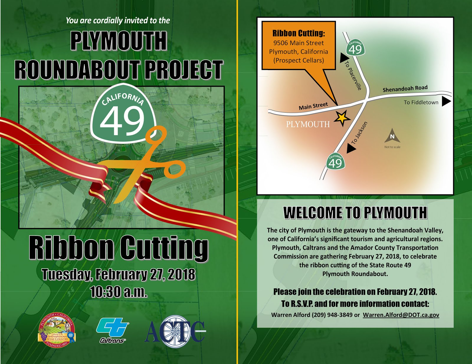 Plymouth Roundabout Project Ribbon Cutting - Tues Feb 27