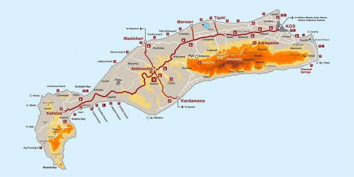 Cartina geografica di Kos con spiagge, località e punti d'interesse