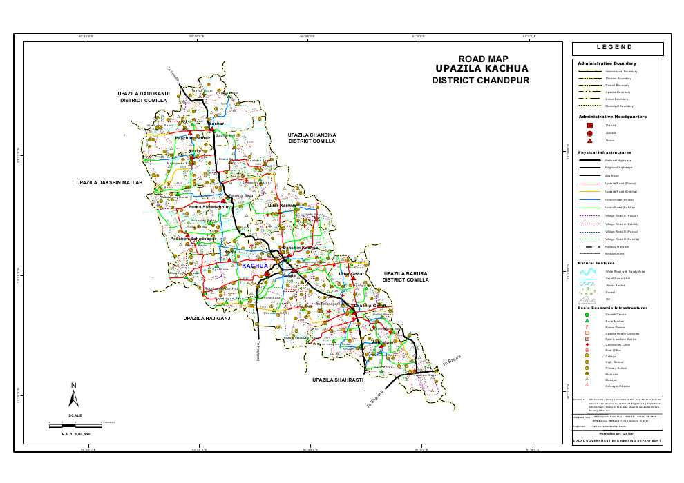 Kachua Upazila Road Map Chandpur District Bangladesh