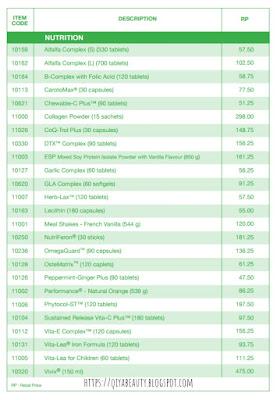 Senarai Harga Produk Shaklee 2018