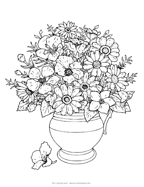 Flower Vase Coloring Page Flower  My Coloring