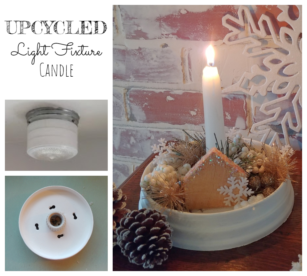 Upcycled Light Fixture Candle