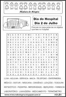 Dia do hospital caça-palavras