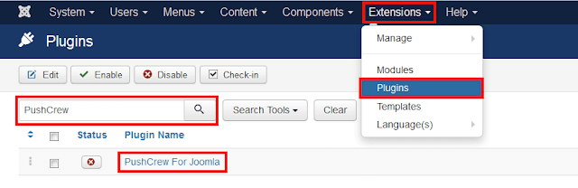 joomla can send push notifications