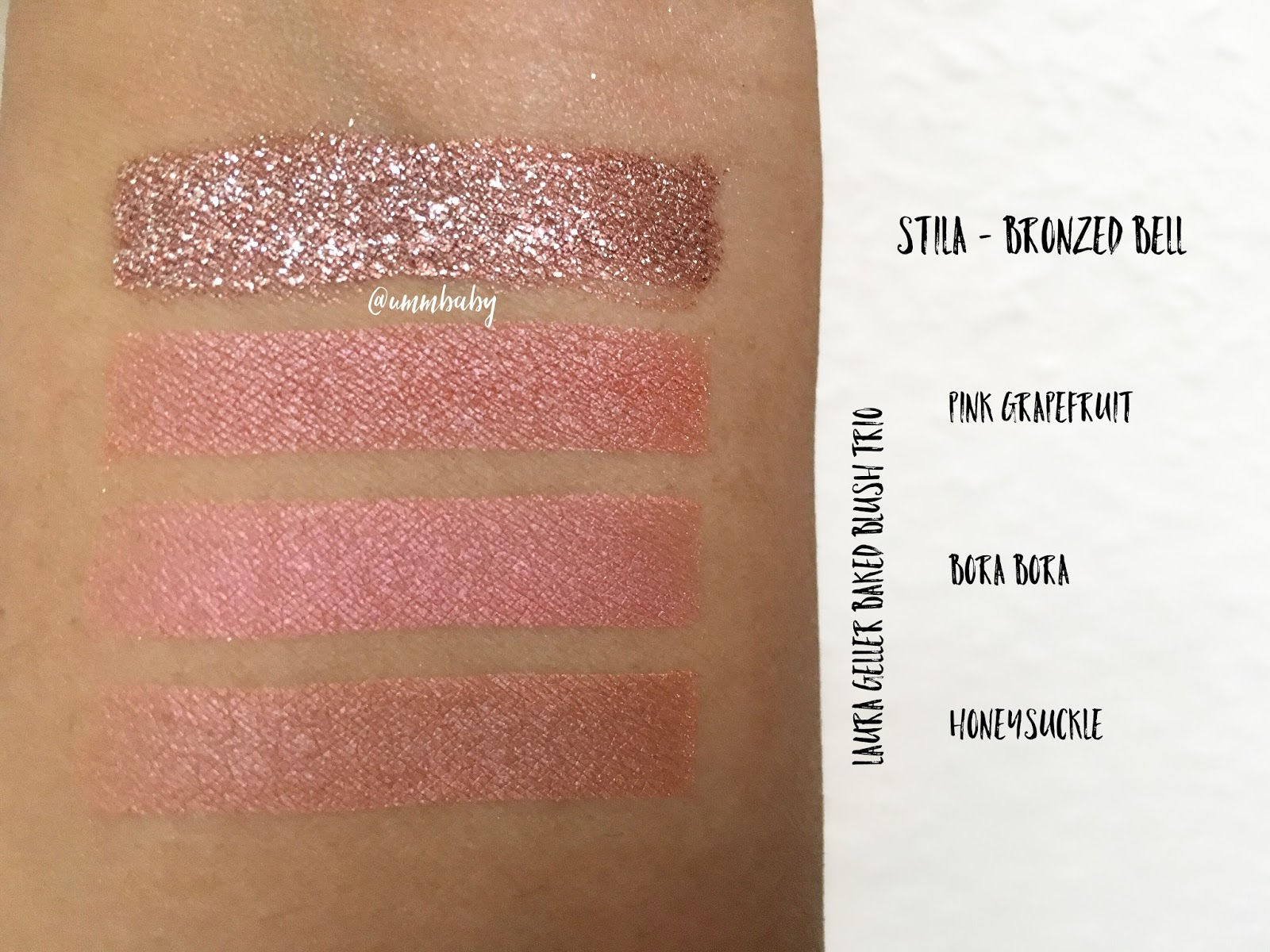 nc40 swatches stila magnificent metals bronzed bell medium skin swatch, laura geller baked blush trio swatches