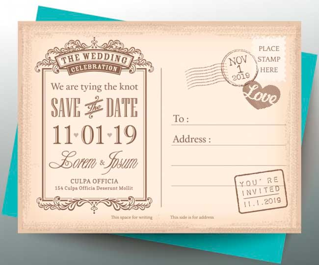 Vintage postcard for wedding invitation download