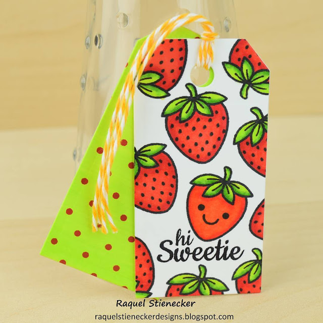 Sunny Studio Stamps: Fresh & Fruity Strawberry Gift Tag by Raquel Stienecker.