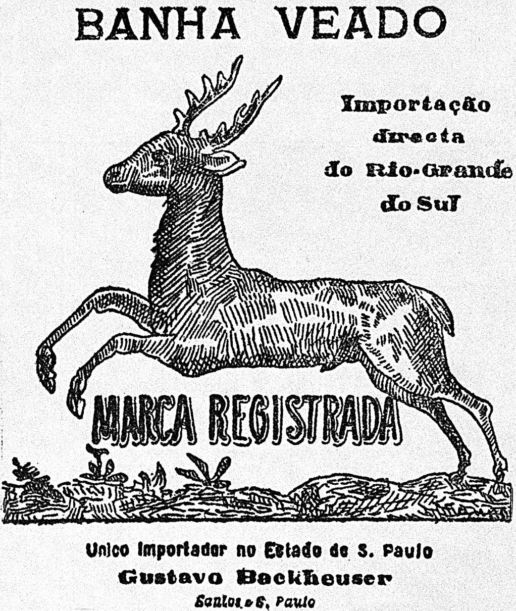 Propaganda do século XIX que apresentava a Banha Veado produzida no Rio Grande do Sul