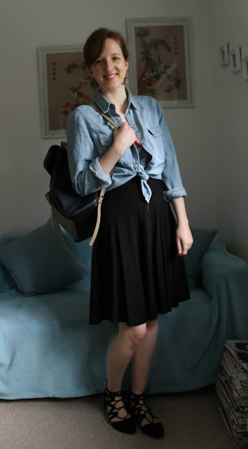 Outfit, Work, ASOS Skirt, Zara Shirt, Denim Shirt, ASOS, Zara, Primark. Primark Top, Primark Shes, Pointy Shoes, Pointed Shoes, Accessorize Backpack, Accessorize, Backpack