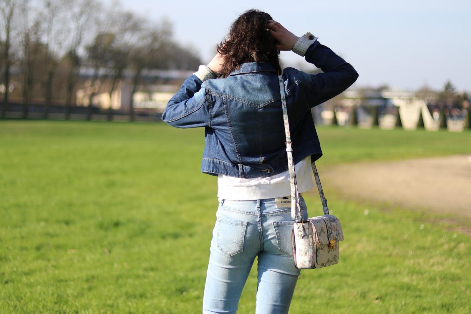 look mode femme ootd outfit of the day fleurs veste en jean shein avis babou derbies paillettes accessorize idée ete printemps broderies
