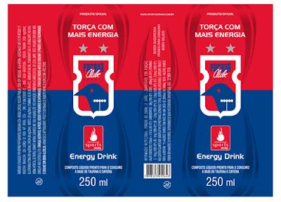 Embalagem planificada de lata de energético Paraná Clube