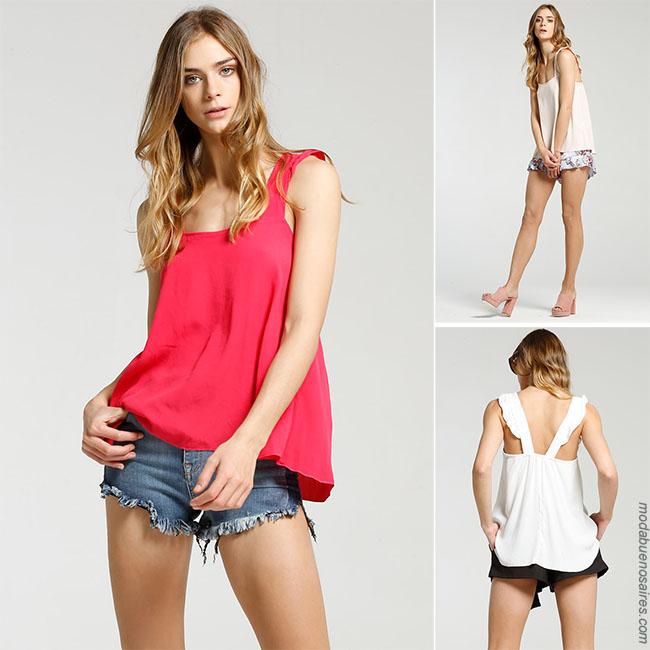 Blusa con short diferentes looks de moda verano 2018 para mujer.