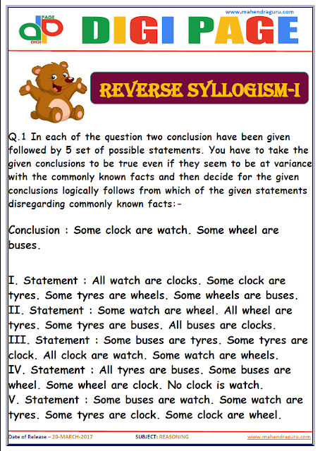 DP | REVERSE SYLLOGISM | 20 - MAR - 17 | IMPORTANT FOR SBI PO