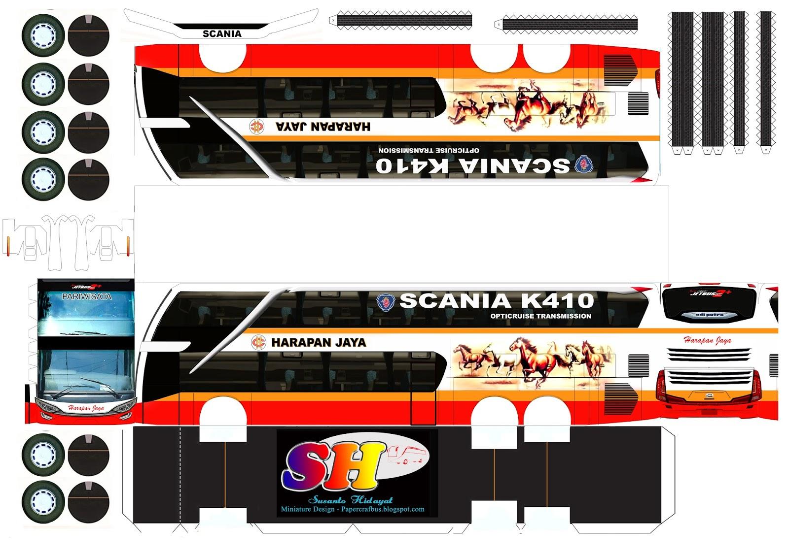 Pola Free Edisi Double Decker Design Papercraft Bus
