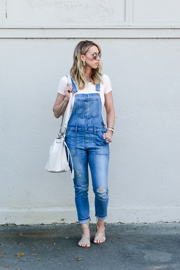 denim fitted overalls parlor girl