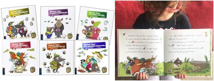 cuentos libros infantiles en letra ligada y pictogramas Sherlock Tópez edelvives