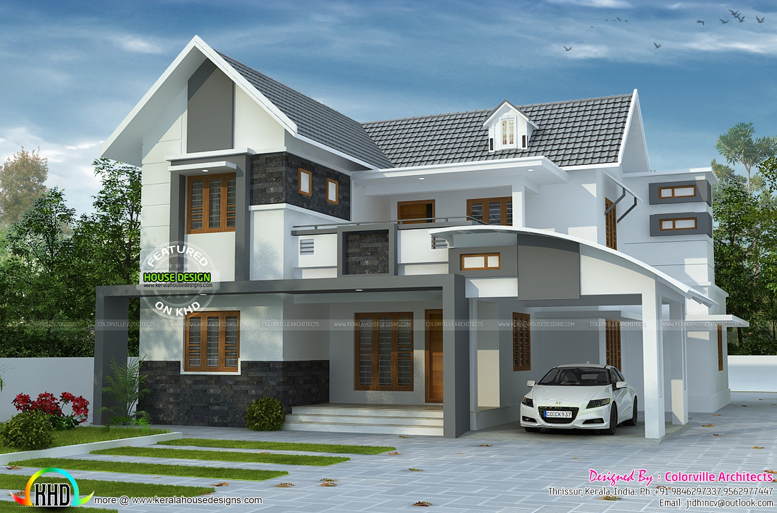 House plan by colorville architects kerala home design House plans india with two bedrooms