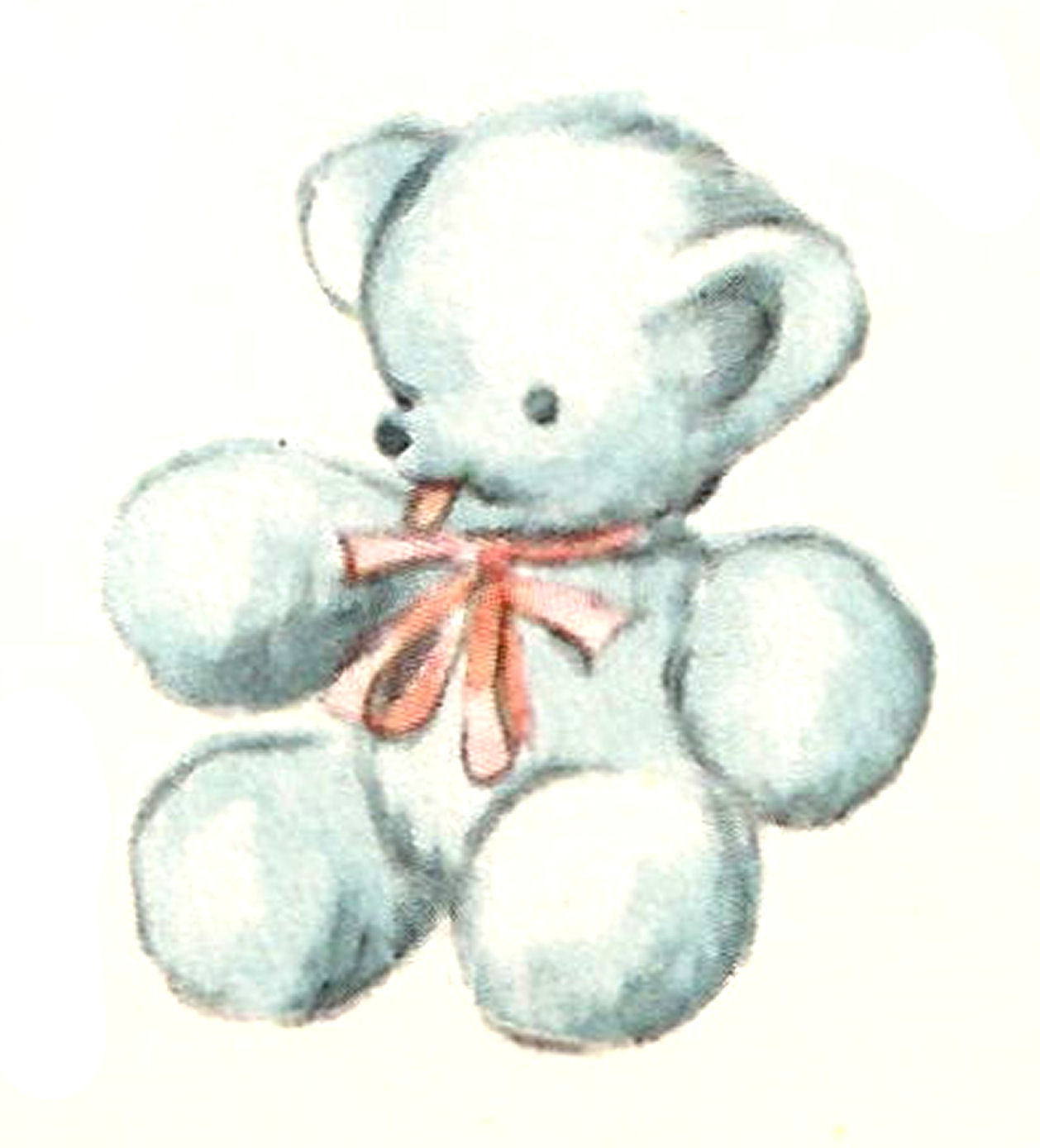 Antique Images Blue Teddy Bear Baby Toy Digital