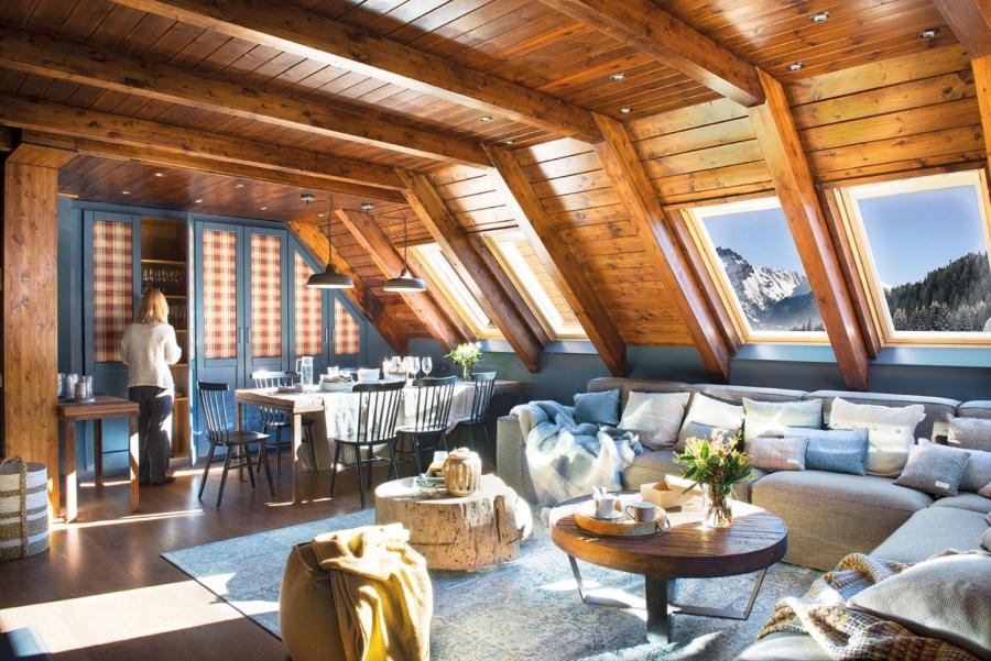wystrój wnętrz, wnętrza, urządzanie mieszkania, dom, home decor, dekoracje, aranżacje, domek w górach, drewniana chata, styl skandynawski, styl klasyczny, mountain hut, cottage in the mountains, salon, living room