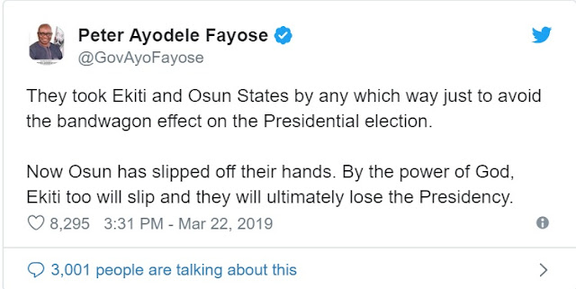 Fayose: APC will also lose presidency by God's grace