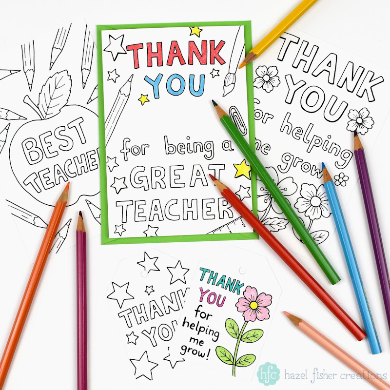 Printable Colour in thank you teacher cards, send a personalised thank you to teachers, teaching assistants and tutors with a card coloured by your child. Hazel Fisher Creations