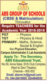 ABS Group of Schools Wanted  Primary/PGT/TGT Teachers