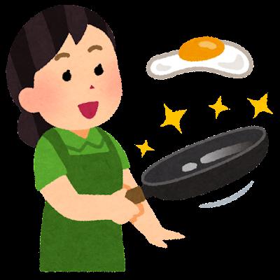 つるつるのフライパンで料理をする人のイラスト