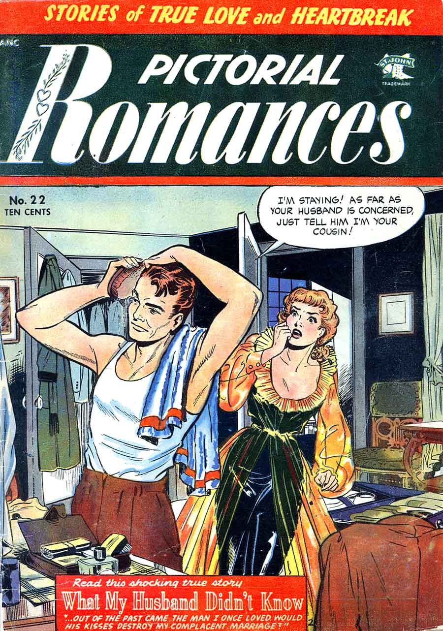 Pictorial Romances #22 st. john golden age 1950s romance comic book cover art by Matt Baker