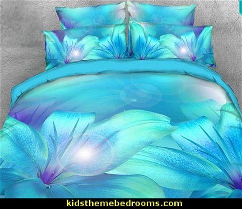 3D Turquoise Lily Printed 4-Piece Bedding Sets/Duvet Covers