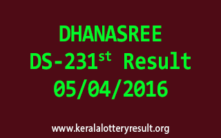 DHANASREE DS 231 Lottery Result 5-4-2016