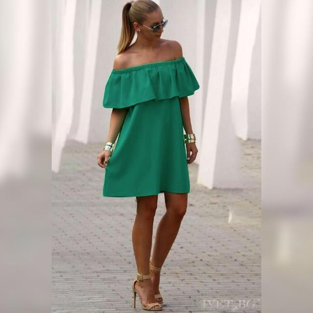 Μοντέρνο κοντό  πράσινο φόρεμα KARISA GREEN