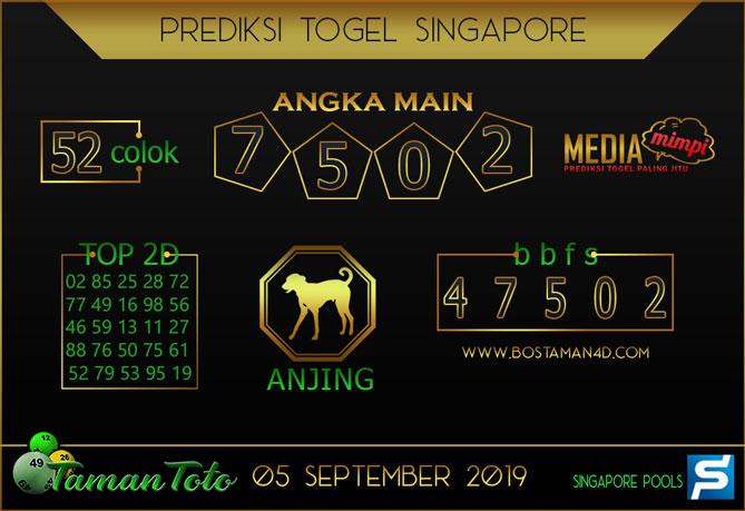 Prediksi Togel SINGAPORE TAMAN TOTO 05 SEPTEMBER 2019