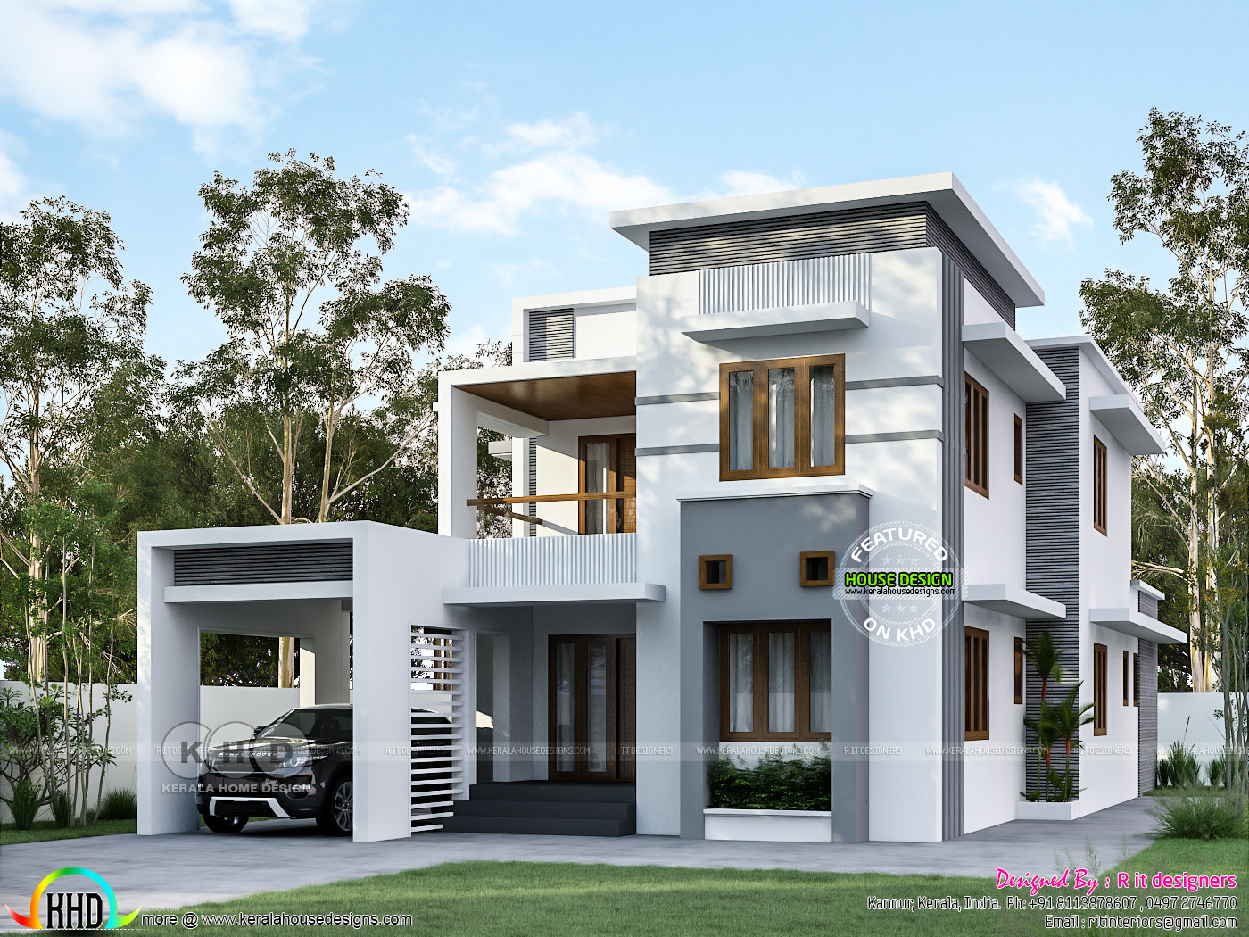 2457 Sq Ft Flat Roof Style House Plan Kerala Home Design And Floor Plans 8000 Houses