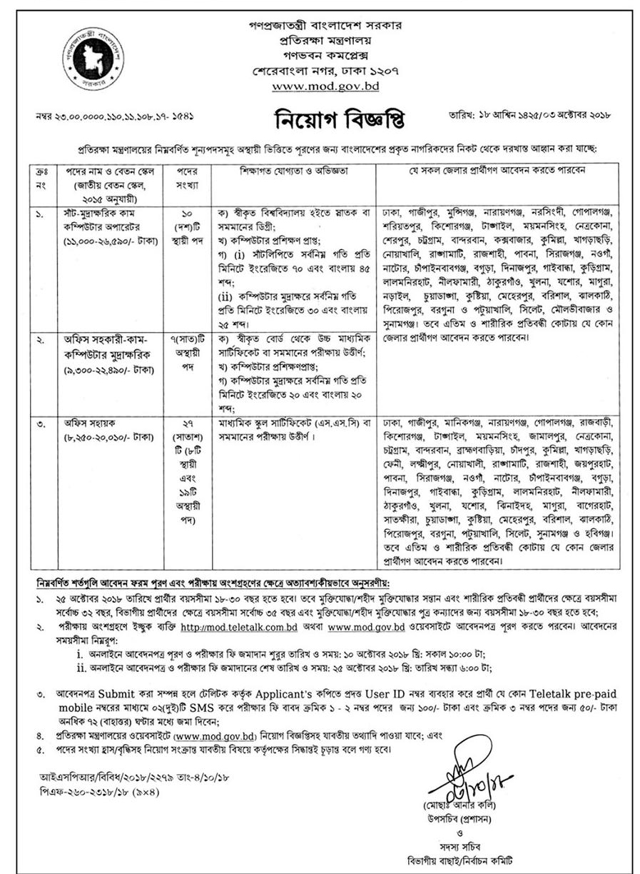 Ministry of Defence (MOD) Job Circular 2018